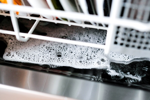 water not draining from dishwasher